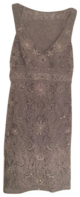 Item - Silver and Gray Lace Appliqué Mid-length Formal Dress Size 2 (XS)