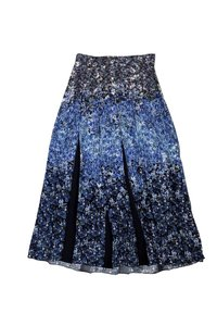 Mother of Pearl Floral Silk Skirt Blue