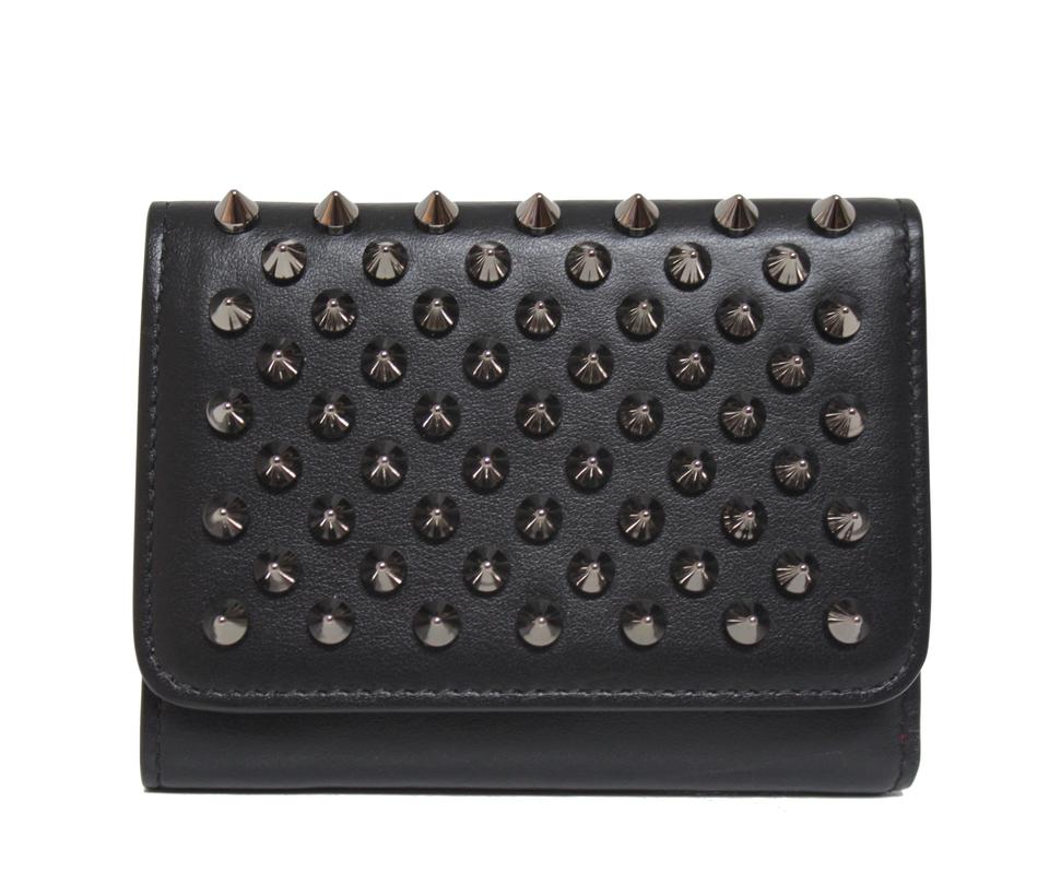 63091f865b7 Christian Louboutin Black New Macaron Mini Leather Spikes Wallet 23% off  retail