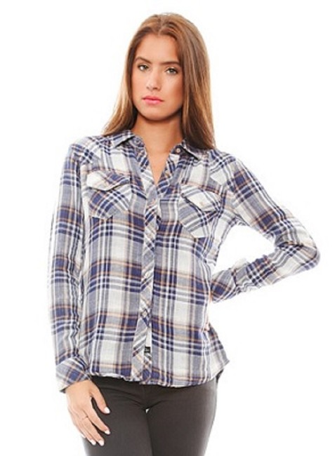 Item - Blue Yellow White Kendra Plaid Gauze Shirt Button-down Top Size 4 (S)