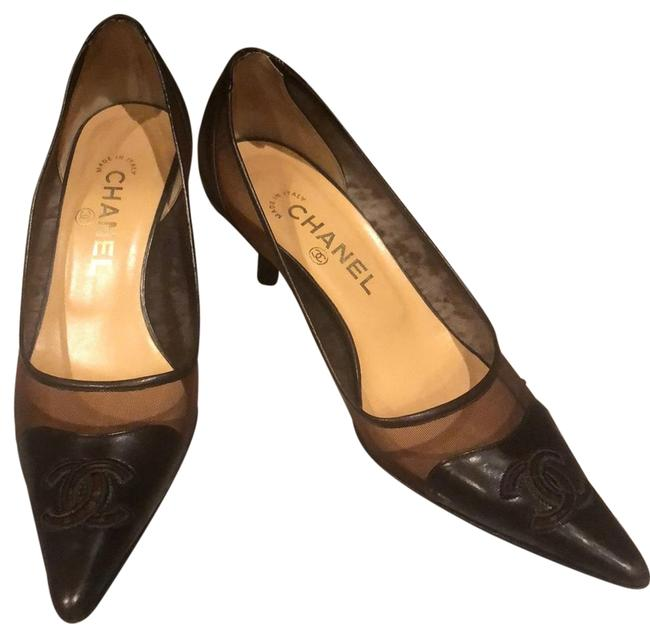 Item - Brown Leather & Mesh Embroidered Cc Logo C Pumps Size EU 38 (Approx. US 8) Regular (M, B)