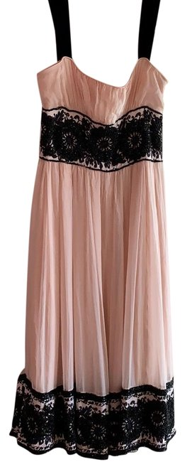 Item - Peach and Black Formal Beaded Mid-length Cocktail Dress Size 2 (XS)