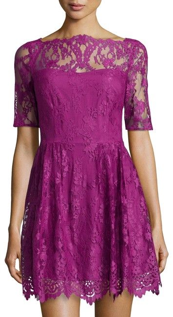 Item - Purple New with Tag Blay Floral Lace Flare Hollyhock Mid-length Cocktail Dress Size 6 (S)