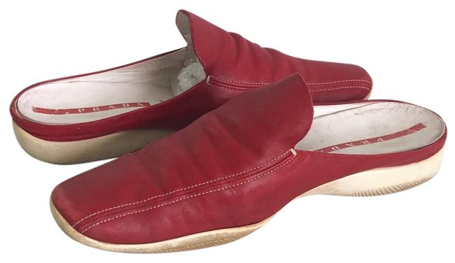 Item - Red Leather Slip On Mules/Slides Size EU 38.5 (Approx. US 8.5) Regular (M, B)