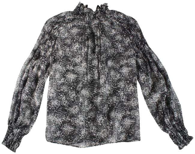 Item - Gray Sheer Abstract Printed High Neck Silk Blouse Size 0 (XS)
