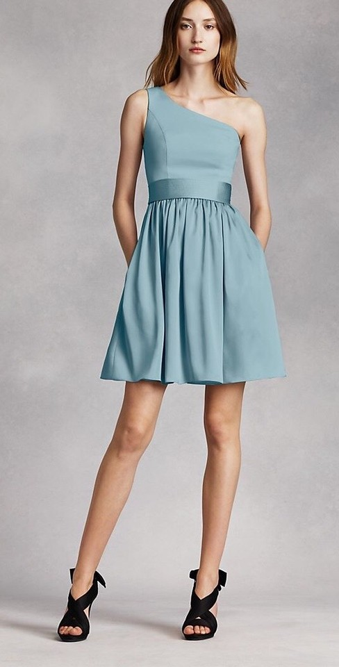 13f32a5813c1 White by Vera Wang Mist One Shoulder In Modern Bridesmaid/Mob Dress. Street  Size: 0 ...