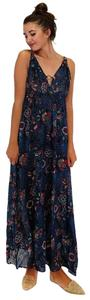 blue Maxi Dress by En Creme Bringing The Rings Floral Maxi