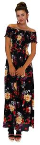 black Maxi Dress by En Creme Cinched In Style Floral Maxi