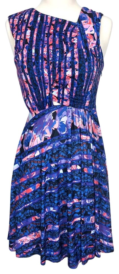 44e6e048f764 Versus Versace Blue Purple Pink Abstract Print Cut Out Casual Dress. Size: 4  ...