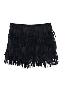 Gryphon Navy Fringe Leather Skirt