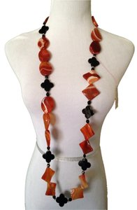 Other Carnelian, Black Onyx, Banded Desert Agate In Sterling Silver Long Necklac