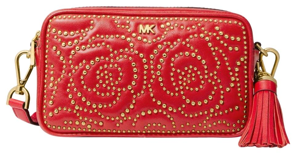 b8fd36d67 Michael Kors Small Rose Studded Camera Bright Red Leather Cross Body ...
