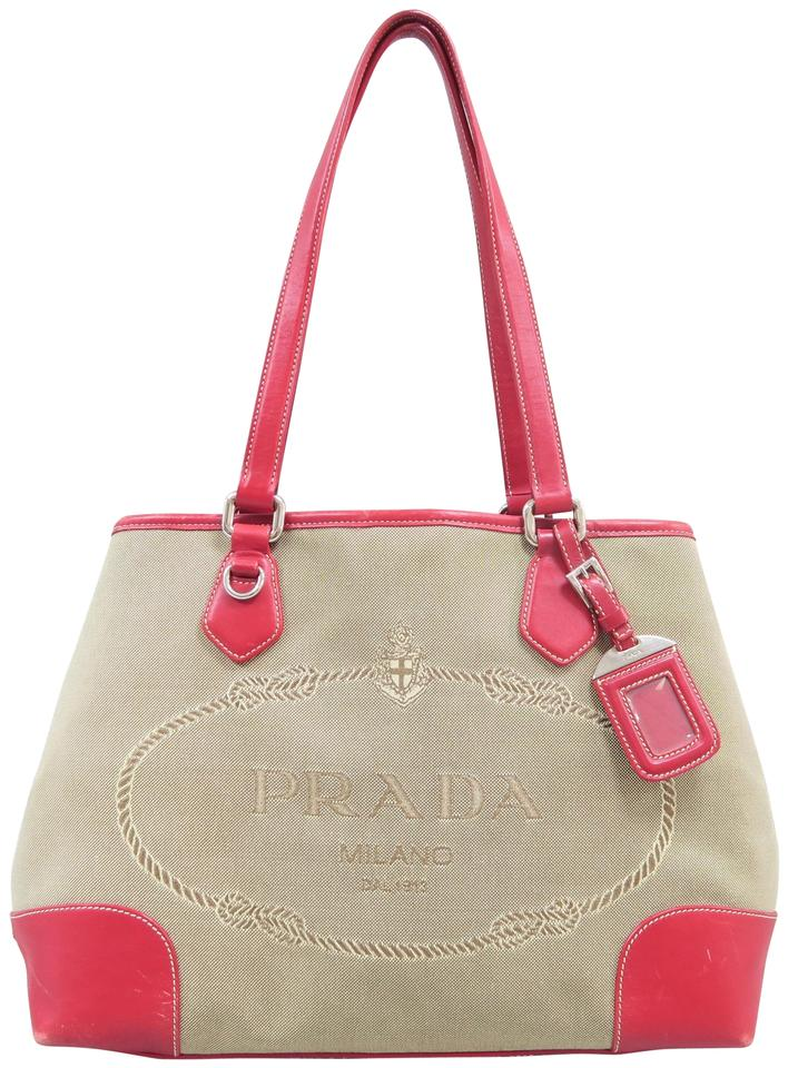 eed32ff36f6a Prada Canapa Leather-trimmed Brown Canvas Tote - Tradesy