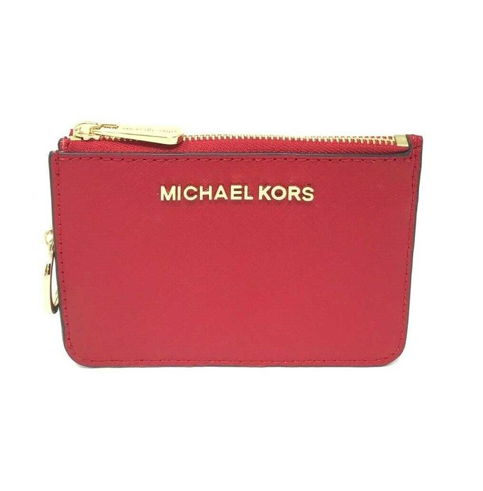 76e4252d9189 Michael Kors Chili Jet Set Travel Small Leather Top Zip Coin Pouch with Id  Wallet
