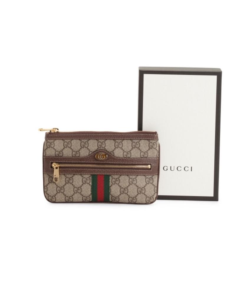 73d3ac202752 Gucci Ophidia Gg Small Supreme Canvas Zip Pouch Tan Leather Clutch ...