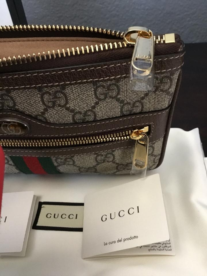 ab9307a4165 Gucci Ophidia Gg Small Supreme Canvas Zip Pouch Tan Leather Clutch ...