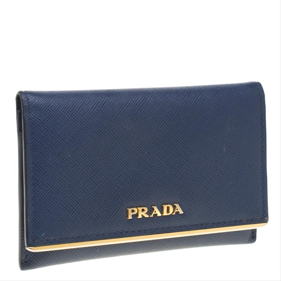 eb5846e2722a5e Prada Blue Saffiano Leather Flap Wallet - Tradesy