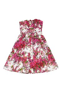 David Meister short dress Pink Floral Strapless on Tradesy