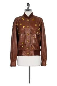 Escada Tan Leather Stud brown Jacket