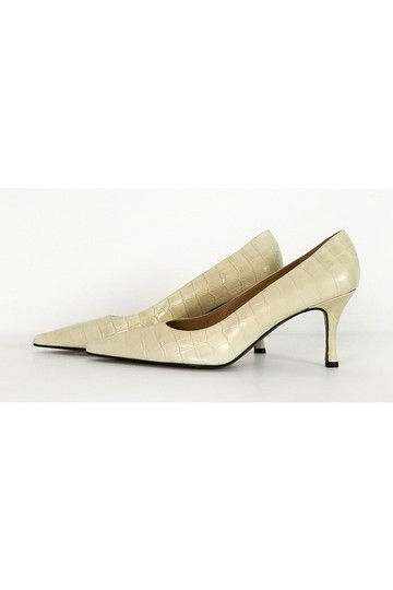 Stuart Weitzman Embossed Heels Cream Pumps Image 2