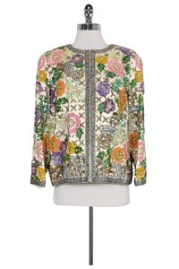 Oleg Cassini Multicolor Embellished Jacket