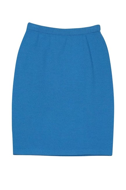 St. John Bright Knit Pencil Skirt Blue Image 2