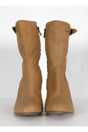 CoSTUME NATIONAL Leather Stacked Tan Boots Image 1