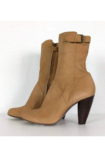 CoSTUME NATIONAL Leather Stacked Tan Boots Image 2