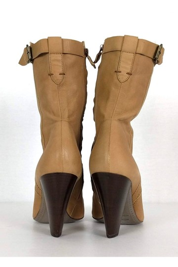 CoSTUME NATIONAL Leather Stacked Tan Boots Image 3