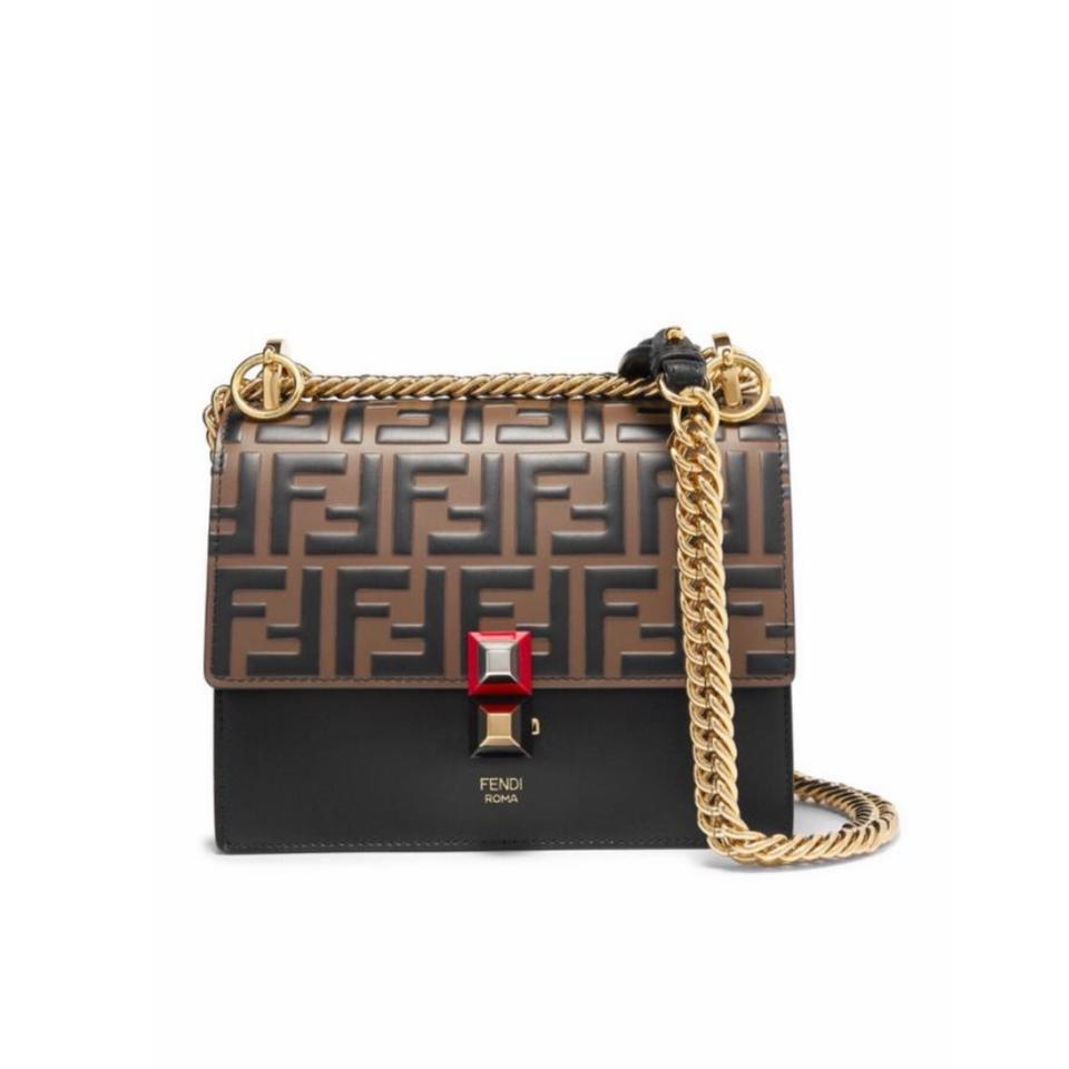 ecc25f4d Fendi Kan I Small Logo Embossed Leather Cross Body Bag