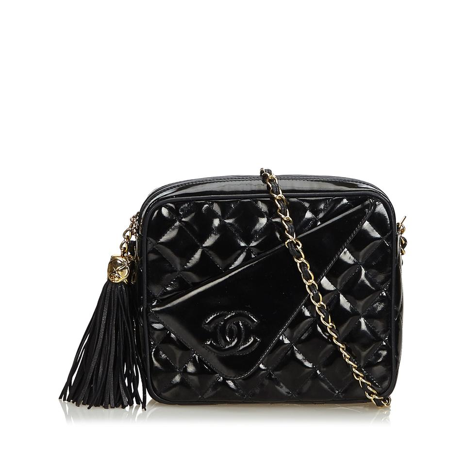 1748354bf135 Chanel Camera Quilted Chain France Black Patent Leather Patent Leather  Cross Body Bag