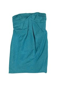 Carmen Marc Valvo short dress Teal Gold Strapless on Tradesy