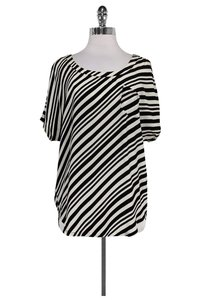 Shoshanna White Striped Top Black