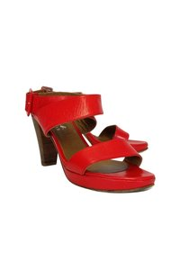 Agnes B Leather Ankle Strap Heels red Pumps