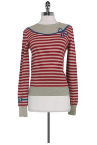 Marc by Marc Jacobs Grey Red Striped Sweater