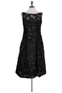 Theia short dress Black Embroidered Sequin on Tradesy