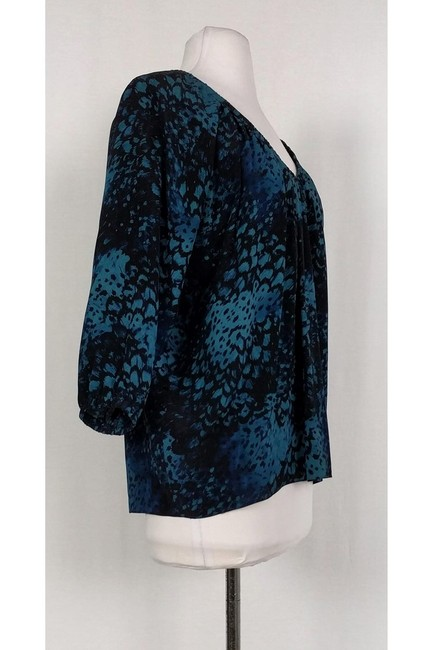 Rebecca Taylor Black Printed Top blue Image 1