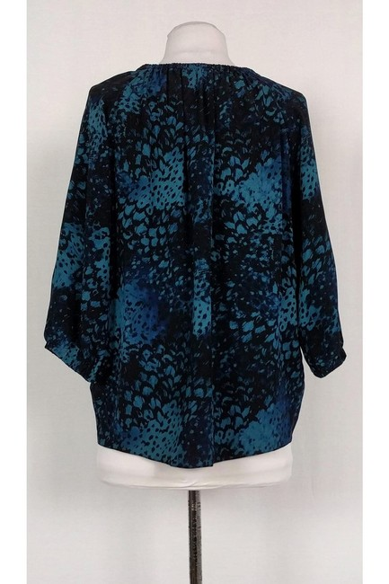 Rebecca Taylor Black Printed Top blue Image 2
