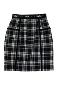 Adam Lippes White Plaid Wool Skirt Black