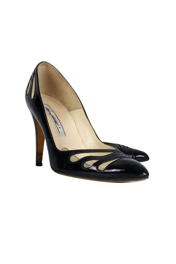 Brian Atwood Patent Leather Cut Out Heels Black Pumps Image 0
