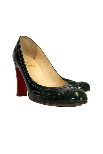 Christian Louboutin Dark Patent Leather Green Pumps Image 0