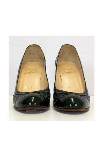 Christian Louboutin Dark Patent Leather Green Pumps Image 1
