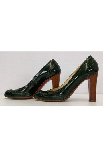 Christian Louboutin Dark Patent Leather Green Pumps Image 2