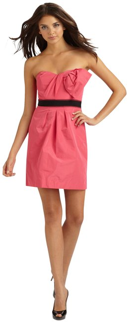 Preload https://img-static.tradesy.com/item/25213741/bcbgmaxazria-pink-strapless-contrast-belt-short-cocktail-dress-size-2-xs-0-1-650-650.jpg