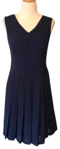Nine West short dress Blue Pleats V-neck Sleeveless on Tradesy