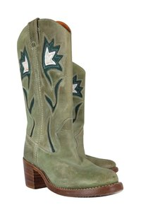 Frye Leather Cowboy Green Boots