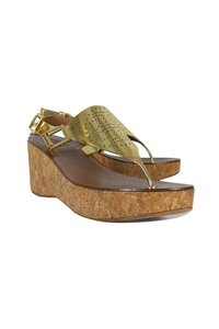Tory Burch Perforated Cork gold Wedges