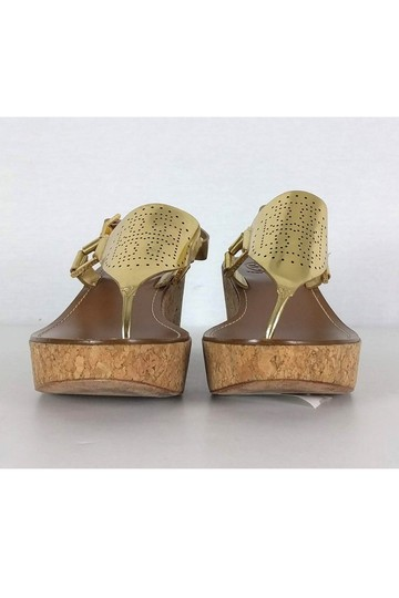 Tory Burch Perforated Cork gold Wedges Image 1