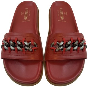 Valentino Chain Exclusive Limited Edition Leather Red Flats