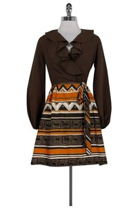 Gay Gibson short dress Brown Vintage Patterned on Tradesy